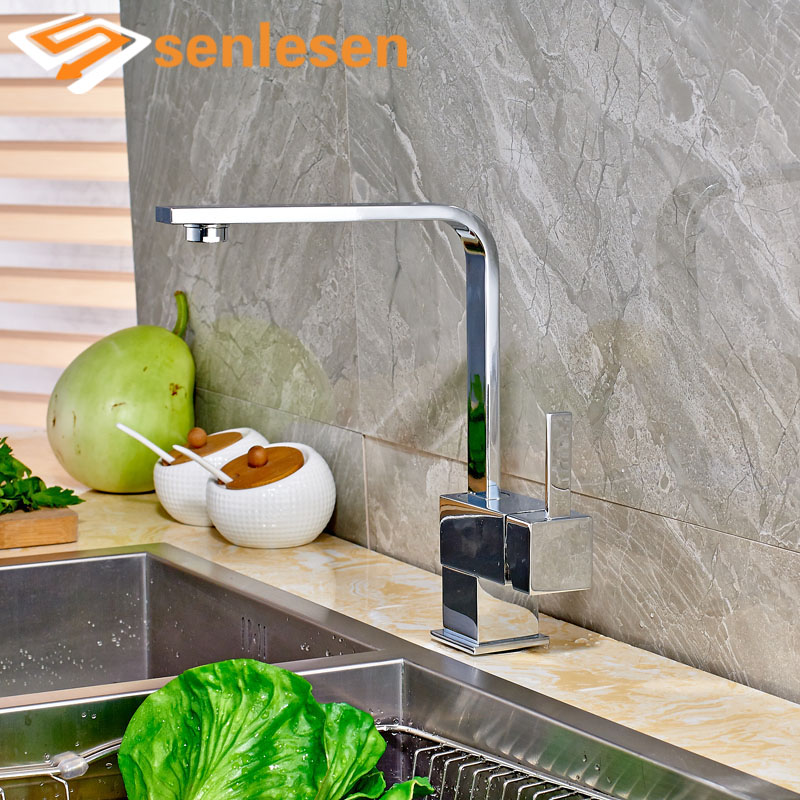 Wholesale and Retail Chrome Finish Kitchen Sink Faucet Deck Mounted Single Handle Single Lever wholesale and retail deck mounted square waterfall bathtub faucet single handle chrome finish bath spray w hand shower