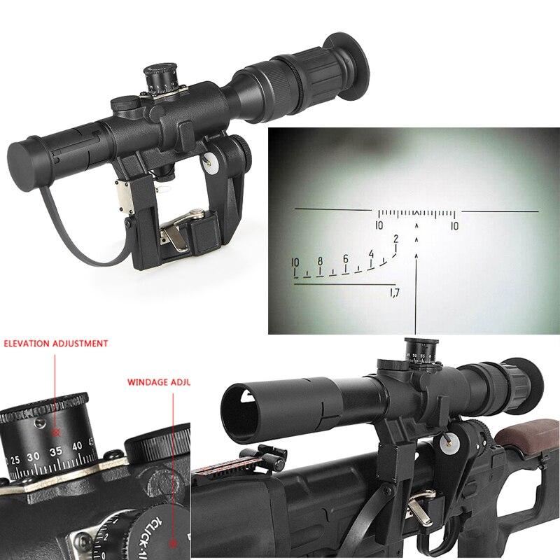 1 pc Chasse Optique Tactique SVD Dragunov 4x26 Rouge Lumineux Portée pour Airsoft Pistolet Camping Chasse Tir AK Armes de portée