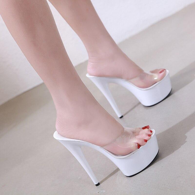 7865ec47a09 US $21.70 New Women Slipper Crystal Fine Heel 15cm Slipper Female ...