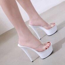 Las nuevas mujeres zapatilla de cristal bien tacón 15 cm zapatillas de mujer  verano impermeable 15 0ea2055c07ca