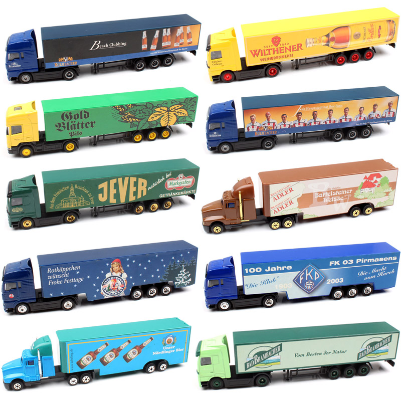 1/87 Scale Mini Small Germany Advertising AD Media Container Cargo Trailer Tow Truck Diecasts & Toy Vehicles Model Cars Souvenir