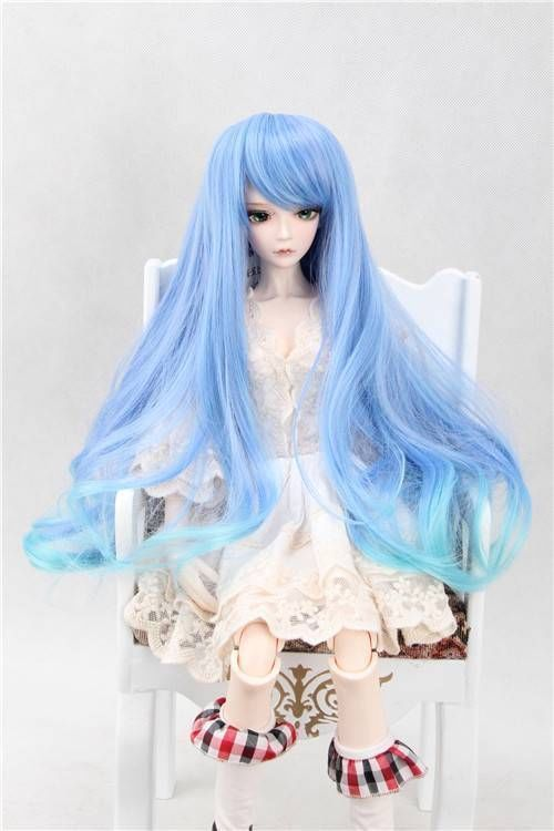 [wamami] 97# blue colorful wig/hair for 1/4 MSD DOD AOD LUTS BJD Dollfie new 1 3 22 23cm 1 4 18 18 5cm bjd sd dod luts dollfie doll orange black short handsome wig