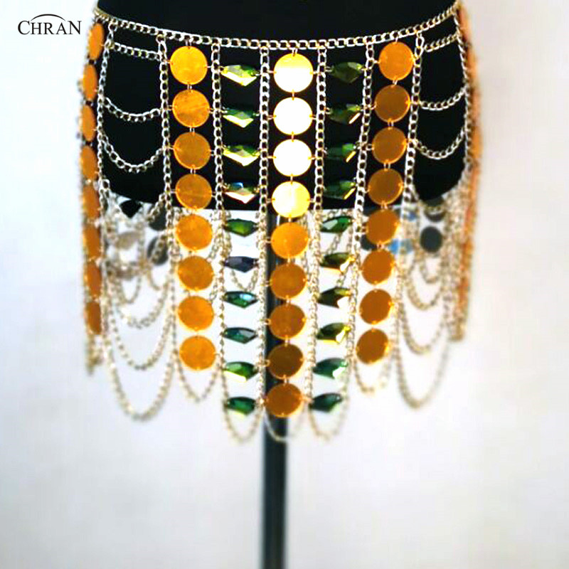 Chran Ibiza Sonar Mirror EDM Skirt Outfit Harness Necklace Belly Waist Chain Burning Man Skirt Party Festival Coachella Jewelry chran ibiza chain bra belly waist skirt harness necklace women beach bralette coachella party wear edm festival jewelry crbj905