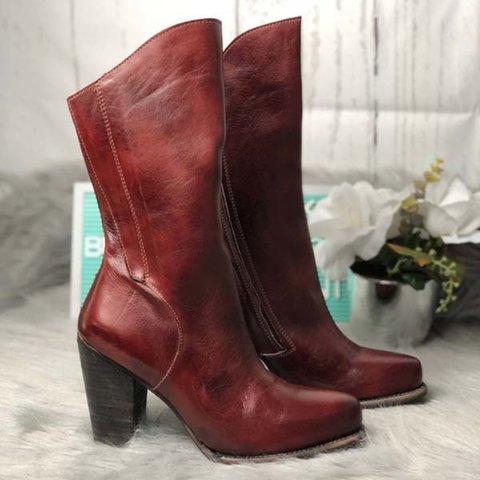 Botas de cuero Vintage Plus tamaño tacón botas cremallera botas de tacón Zapatos de otoño zapatos de las mujeres DB011