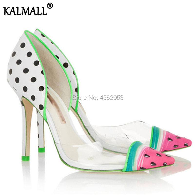 Kalmall Sweet New Fashion Patchwork Pvc Clear Pumps Spring Summer Ladies High Heels Pointed Toe Watermelon Dot Transparent Shoes Exquisite In Workmanship