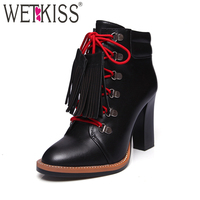 WETKISS 2017 Designer Shoes Woman Genuine Leather Lace Up Ankle Boots Tassel Charm Thick High Heels