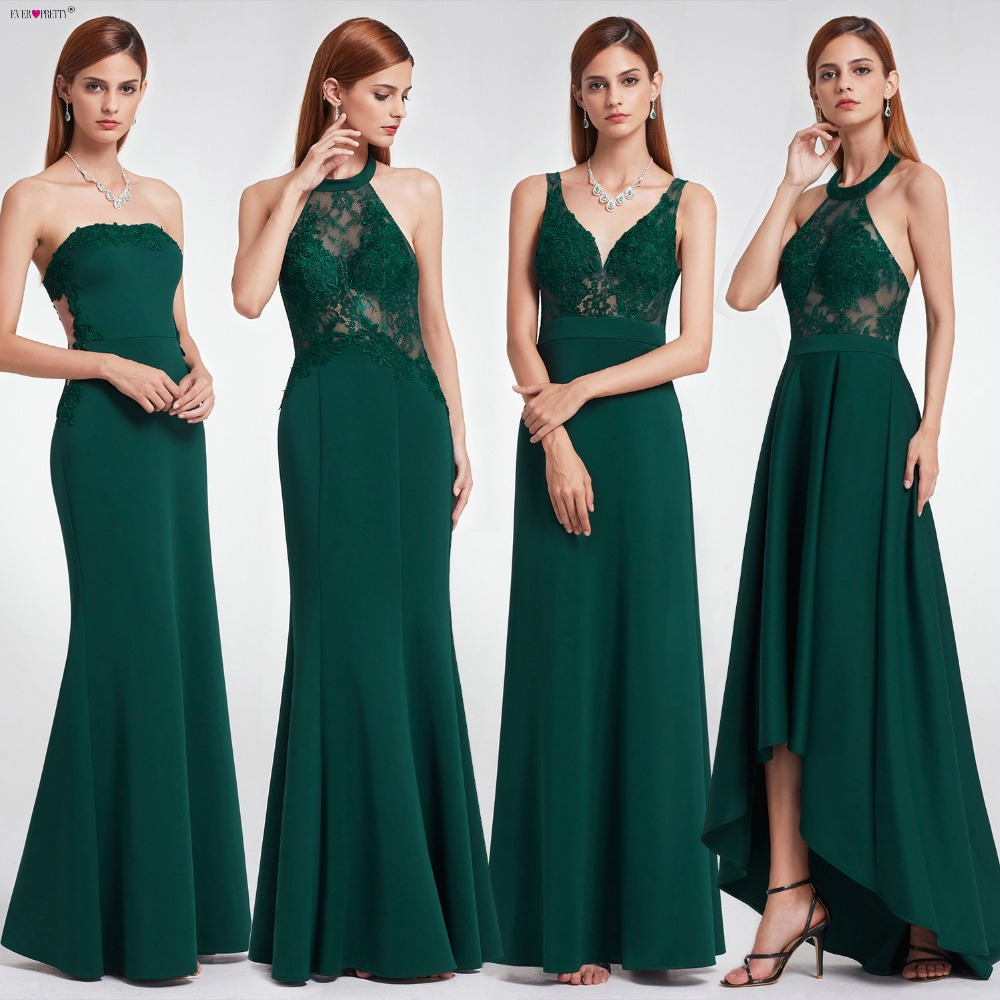 2019 Emerald Dress Elegant Evening Dresses Long Ever Pretty EP07187DG Women's Lace Green Strapless Formal Evening Party Gowns(China)