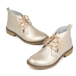 Image 5 - WeiDeng en cuir véritable bottines femmes classique Matin mode chaussures plates hiver à lacets haut décontracté chaussures imperméables femme