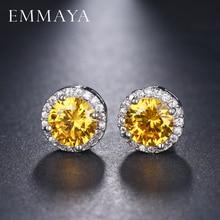 EMMAYA Womens Silver-color Gold CZ Stone Pierced Stud Earrings Round Shape Small Earring Jewelry Charms