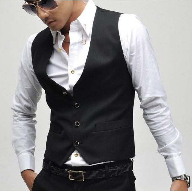 2015 Chegada Nova! Men Suit Vest Slim Vestido Coletes Embutida Lazer Colete Casual Jacket Negócios Tops Quatro Botões
