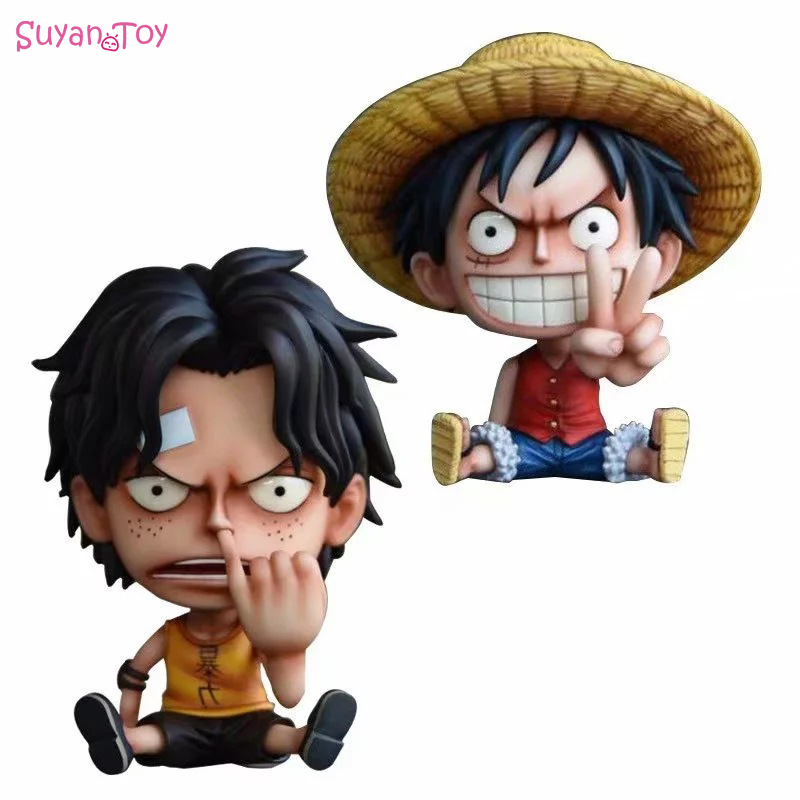 Q Ver. One Piece Monkey D Luffy Anime Action Figure Nose Picking Ace PVC Figures Collection Model Toys Gift For Children's Day