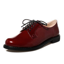 real photo patent leather cowhide new fashion Women's cool lace up oxfords comfortable street girl's  flats for female shoes