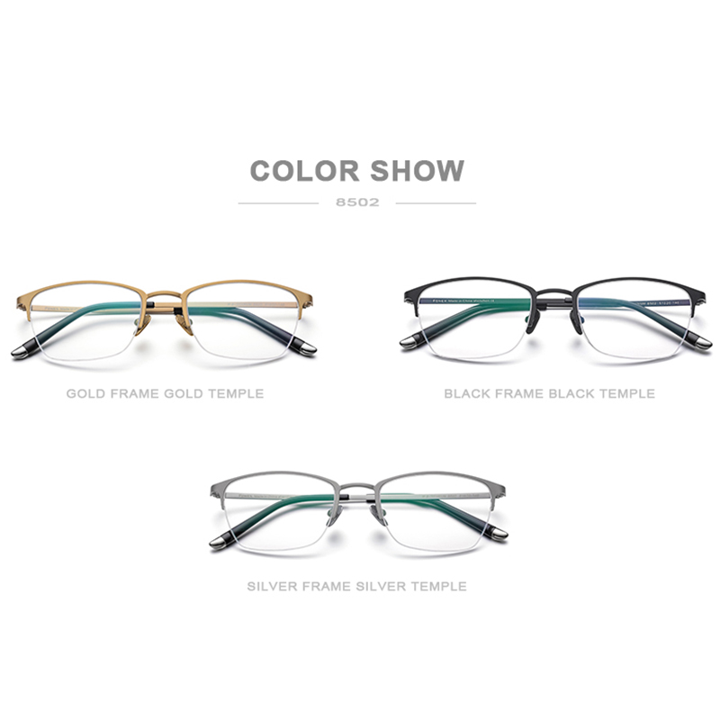 Pure Titanium Prescription Glasses Frame Men Vintage Round Eyewear Women Semi Rimless Half Optical Eyeglasses Frames Gafas 8502