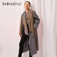 TWOTWINSTYLE Asymmetric Plaid Women Blazer Coat Oversize Long Sleeve Double Breasted Patchwork Blazers Female Streetwear Fashion