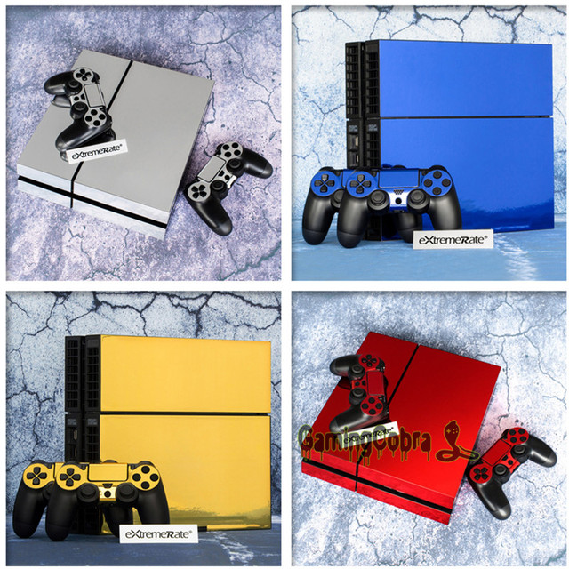 eXtremeRate Vinyl Decal Sticker Protector Set for PS4 Console 2 Controller Skins