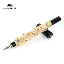 Jinhao Noble Brand Gold Dragon Business Gift Fountain Pen 0.5mm Fine Nib Metal Gold Writing Ink Pens School Office Stationery