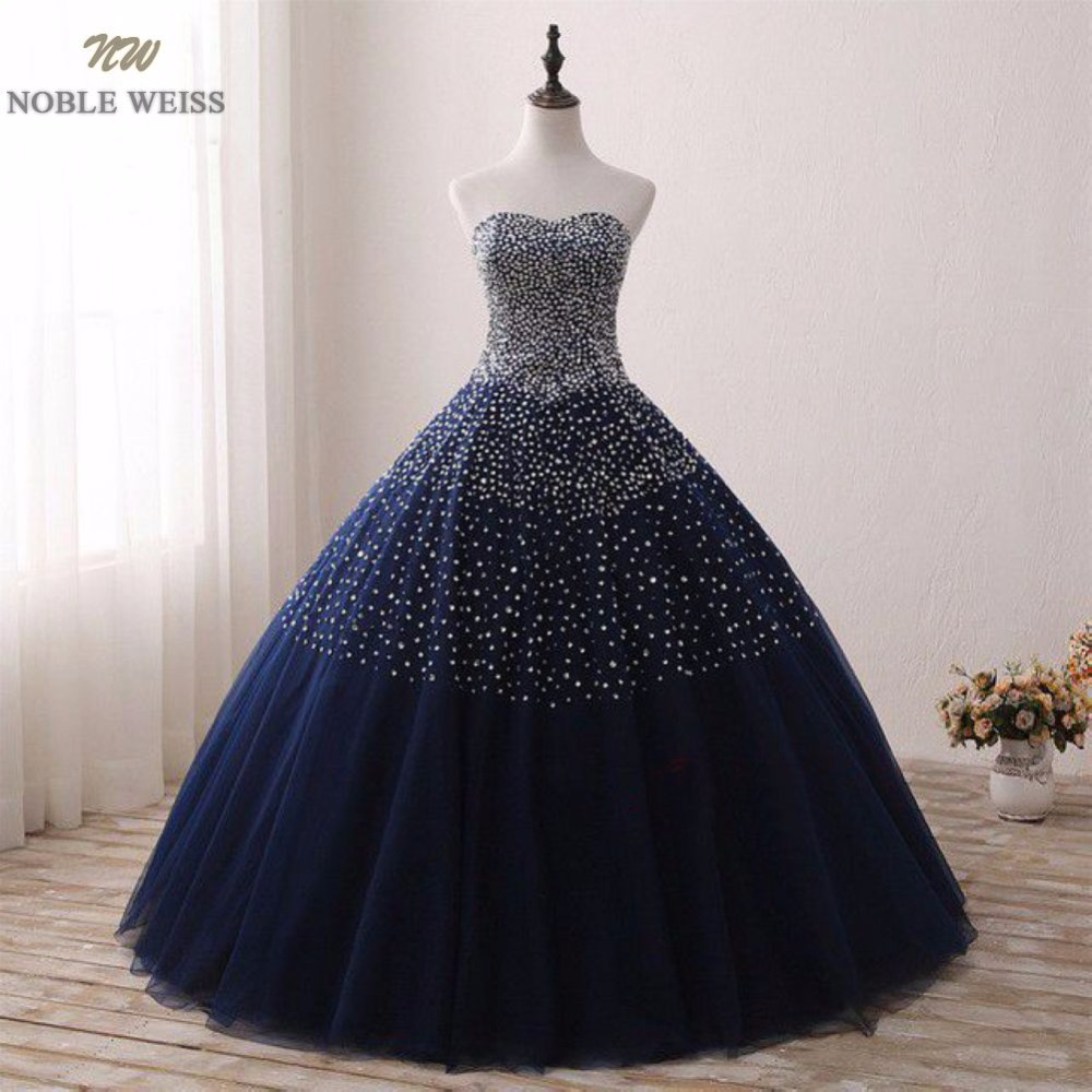 NOBLE WEISS Ball Gown Evening   Dress   Sexy Sweetheart   Prom     Dresses   Beading In Stock Dark Blue Tulle   Prom   Gown