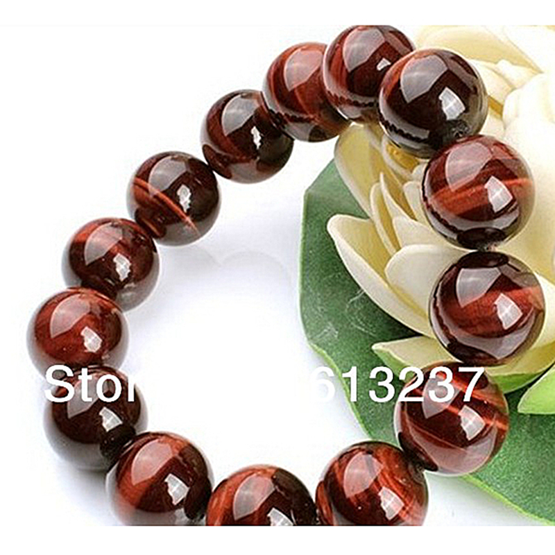 Natural Red Tigers Eye round loose beads 10mm making jewelry Bracelet 7.5' YE0006 - Click Image to Close