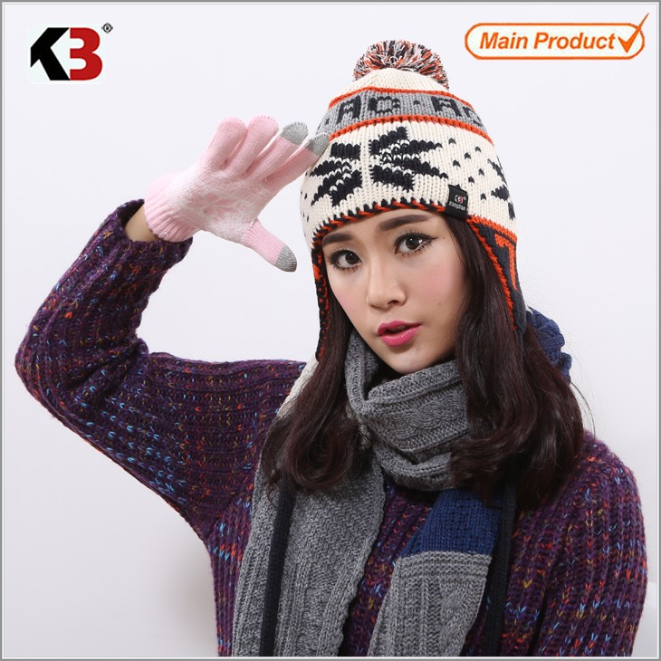Winter Hand Knit Hand-Made Mixed Color Pompoms Jacquard Snowstar Winter Beanie Hat (1)