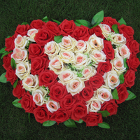 High quality 56x36 cm Artificial Silk Rose Wedding Car Decoration Heart Shaped Door Wreaths Lovely Wedding Door Decoration