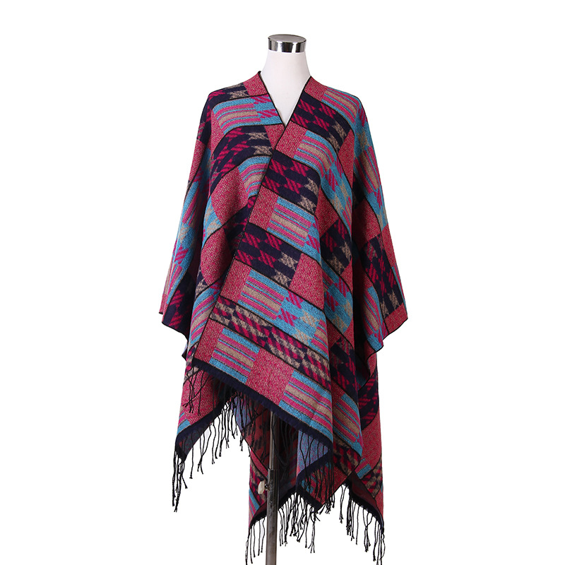 Women Autumn Winter Scarves Gradient Colorful Plaid Side Slit Blanket Scarf Tassel Shawl Poncho Wrap font