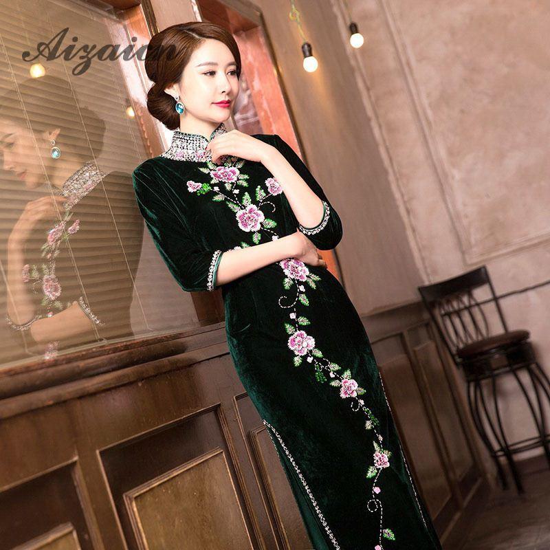 20a0fda7a766 Μακρύ πράσινο Pleuche παραδοσιακό Qipao Γυναικών κινέζικα cheongsams ...