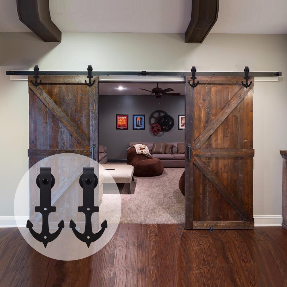 LWZH Sliding Barn Wood Door Hardware Kit Black Steel Anchor Shaped Interior Sliding Track Roller 10ft/11ft/12ft  For Double Door