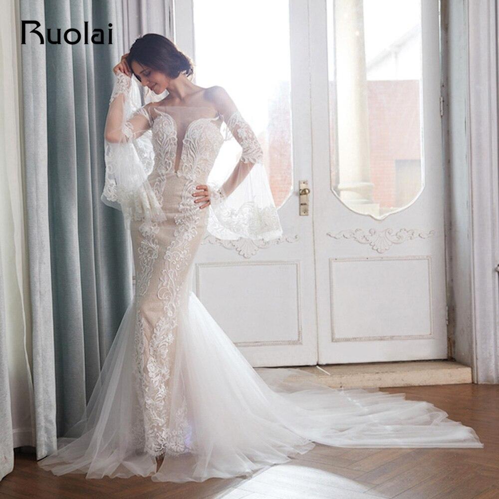 Elegantni Off Rameno Morska Panna Svatebni Saty Roku 2018 Dlouhy