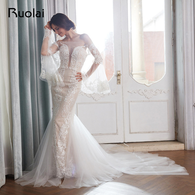 Elegant Off the Shoulder Mermaid Wedding Dress 2018 Long Sleeves Boho Wedding Dress Lace Applique Beaded Vestido de Novia RW14