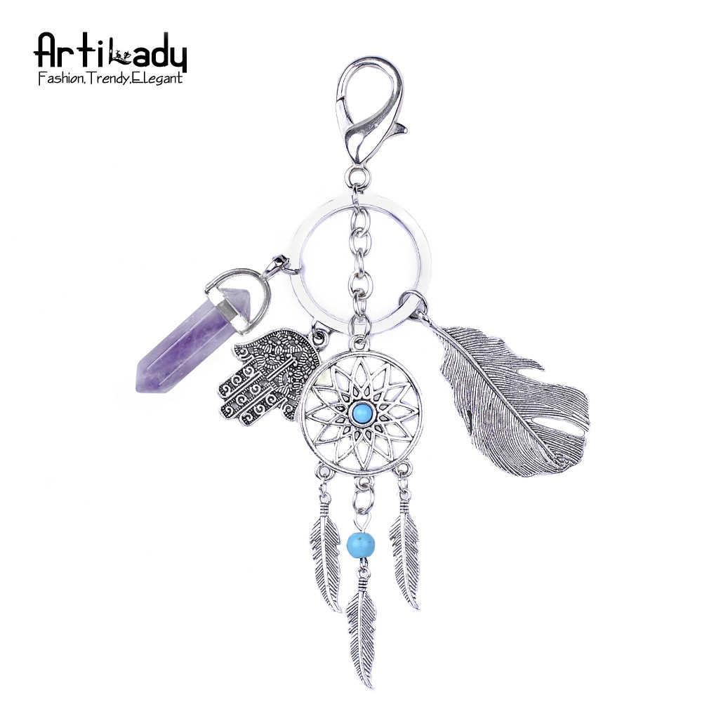 Opala natural pedra dreamcatcher chaveiro moda boho jóias de prata chaveiro carro chaveiro para as mulheres