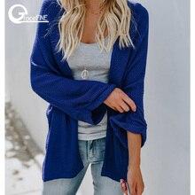 Зимний вязаный свитер кардиган женский расклешенный рукав свободный полосатый джемпер Повседневная осень женский однотонный кардиган свитер пальто.