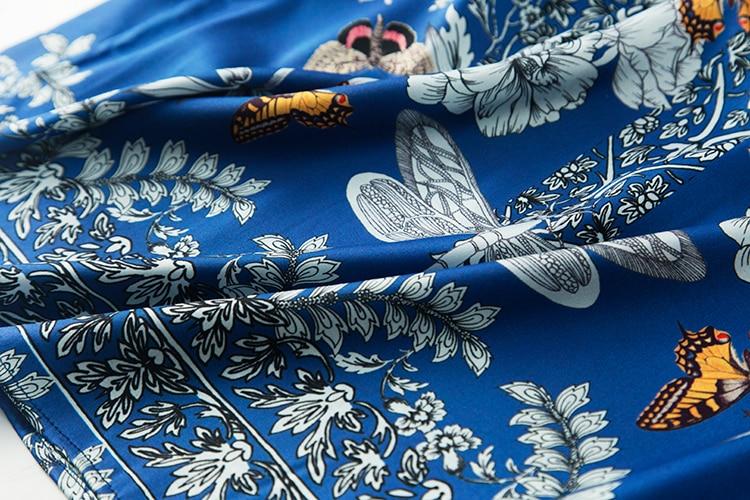 Imprimer Nouvelle Multi Libellule Manchette Un Du Papillon Bleu caractère 2018 Allongé Mûrier Épaule Soie Robe gH0Hqf
