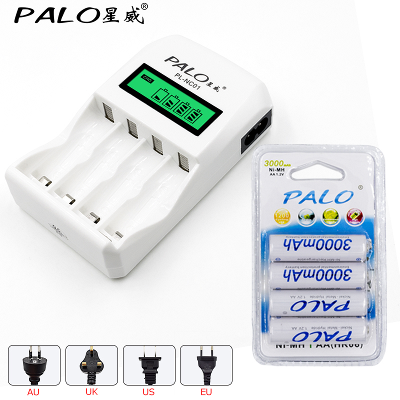все цены на 4 Slots LCD Display Intelligent Charger for AA / AAA Batteries + 4 Pcs AA/aa 3000mAh nimh rechargeable batteries