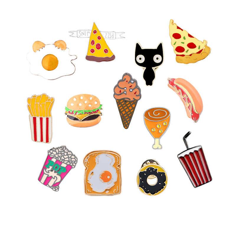 Roti Hamburger Goreng Pizza untuk Wanita Jaket Kerah Pin Omelette Popcorn Kartun Makanan Cepat Saji Enamel Pin Pria Kerah Perhiasan Hadiah