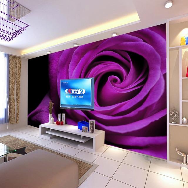 Beibehang Custom 3D Wallpaper Living Room Bedroom Wallpaper Purple Roses TV  Background Wallpaper For Walls 3