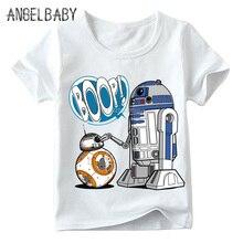 Забавная футболка с R2-D2 «Звездные войны» и BB-8 для маленьких мальчиков и девочек летние детские топы с короткими рукавами, детская повседневная одежда HKP5193