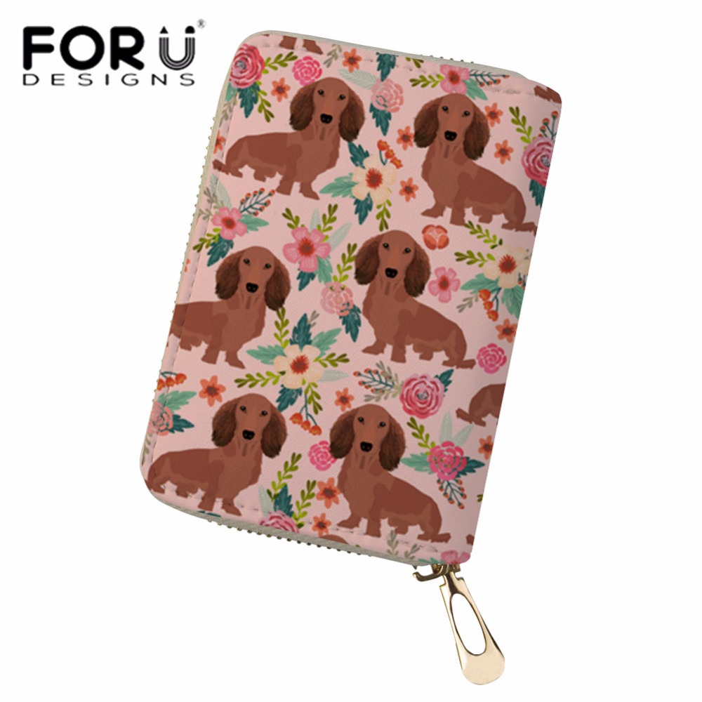 FORUDESIGNS Credit Card Holder for Women Doxie Dog Printing Passport Cover Pu Leather Card Case Girls Kawaii Cardholder Zipper