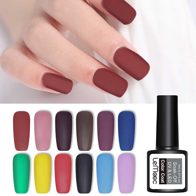 LEMOOC 8ml Color mate UV Gel esmalte de uñas remojo de uñas arte Gel barniz manicura Vernis Semi permanente uñas de Gel UV polaco