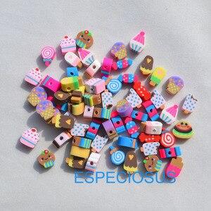 50 шт. DIY аксессуары для ювелирных изделий полимерные глиняные бусины мультяшное мороженое смешанный дизайн разделитель разноцветные брасл...