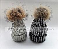 Winter Hats Real Fur Pom Pom Rhinestone Bling Style Women Beanies Warm Knitted Hat Ladies Skullies