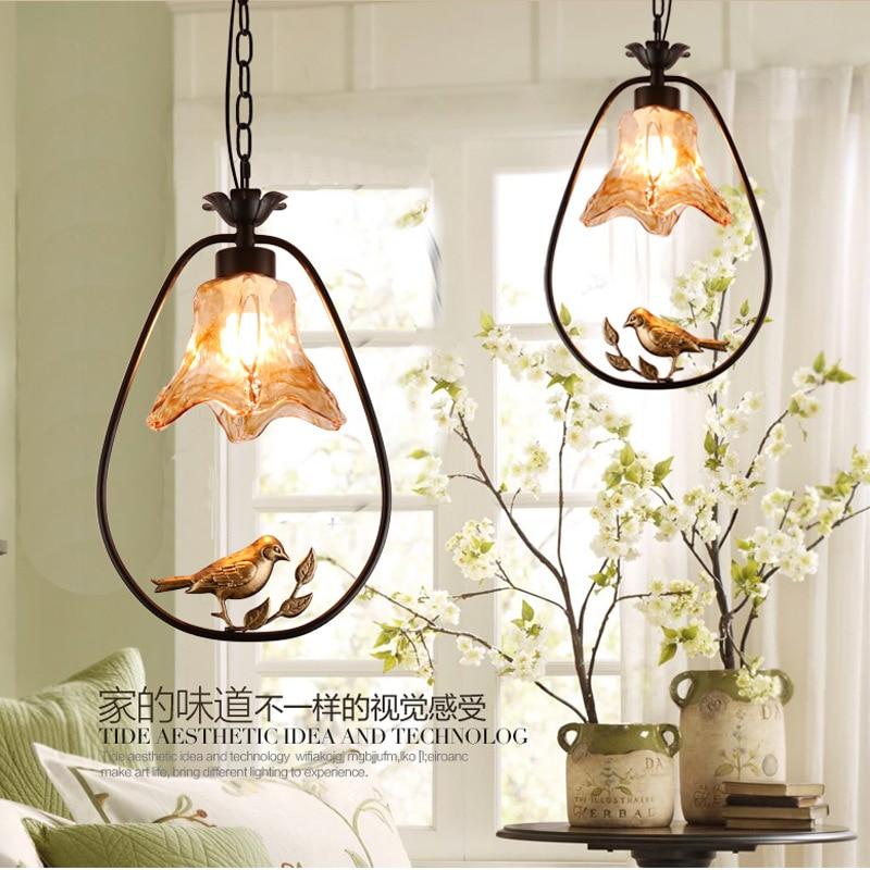 American Modern iron bird Pendant Lights creative Art novelty Indoor birdcage Hanging lighting pendant lamp fixture