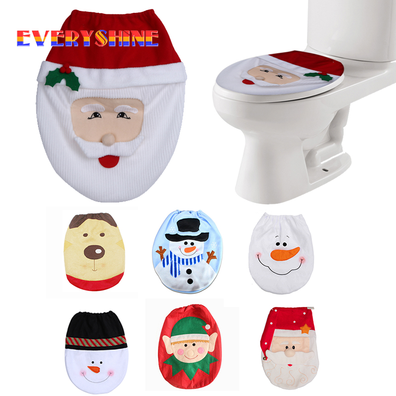 2017 Christmas Decorations For Home Snowman Santa Claus Toilet Seat Cover Lid Elf New Year