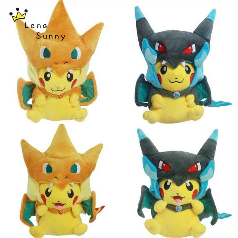 10PC Lot Pikachu Cosplay Mega Charizard X Plush Toys 22 25cm Kawaii Pikachu Plush Soft Stuffed
