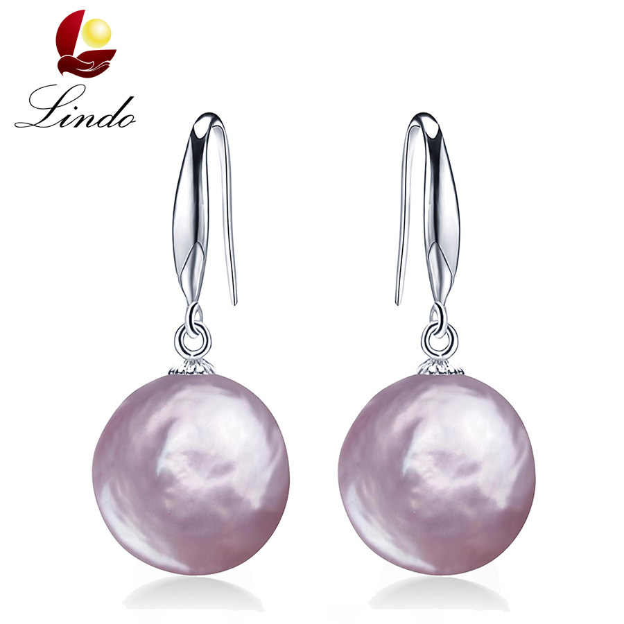 Big Purple Pink Natural Baroque Pearl Drop Earrings For Women Good Quality 925 Sterling Silver Jewelry Freshwater Real Pearl