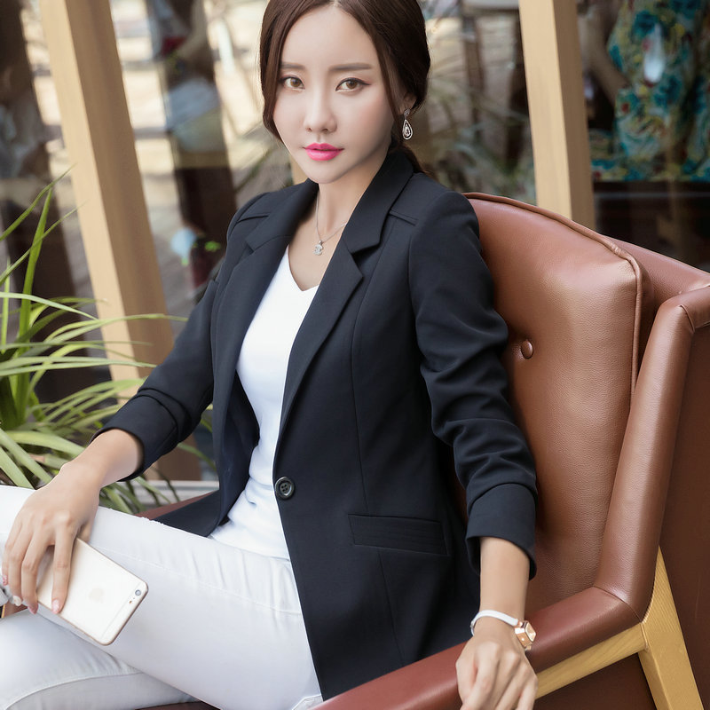 Spring Autumn Women Blazers and Jackets Plus Size One Button Solid Long Sleeve Blazer Jacket Office Lady Coats 4XL