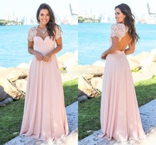 Blush Country Bridesmaid Dresses 2019 Scoop Hollow Back Lace Top Sweep Train Chiffon Garden Wedding Guest Gowns Maid Of Honor