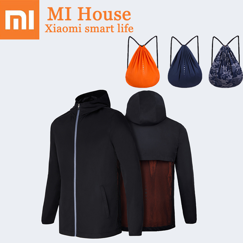 Xiaomi Men Sports Jacket Backpack IPX4 Waterproof Long Sleeve Windbreaker for Men Clothing UPF50 + Portable Drawstring Bag
