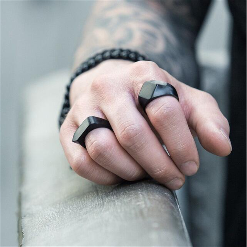 Classic Stainless Steel Black Square Men Ring Rock Vintage Silver-color Men Jewelry Hip Hop Punk Man Finger Rings anel masculino ...