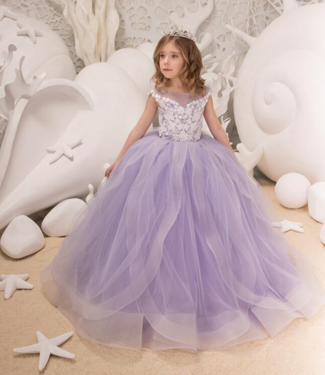 2018 Lavender Puffy Organza Pageant Gown Party Dress for Girls Lace Appliques Flower Girl Dresses for Weddings cnd цвет lavender lace