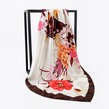 Women Large Square Scarf Soft Satin Sunscreen Shawl Ladies Imitated Silk Bandana Floral Leaf Printted Scarves 90*90cm